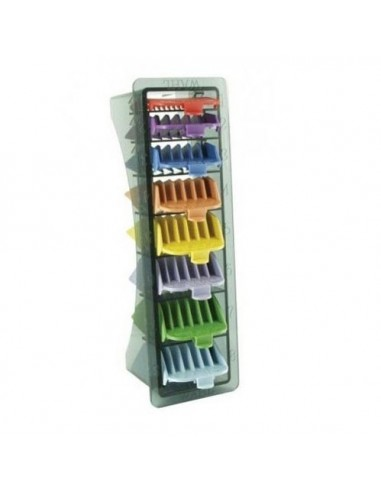 WAHL NO. 1-8 COLOURED PLASTIC COMBS IN CADDY :3170-800